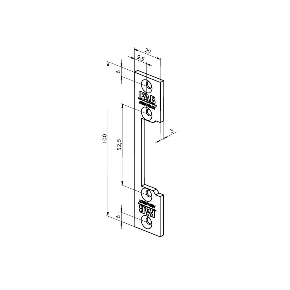 Assa Abloy montážní lišta pro elektrický otvírač FAB16