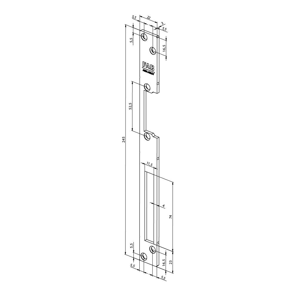 Assa Abloy montážní rovná lišta pro elektrický otvírač FAB16
