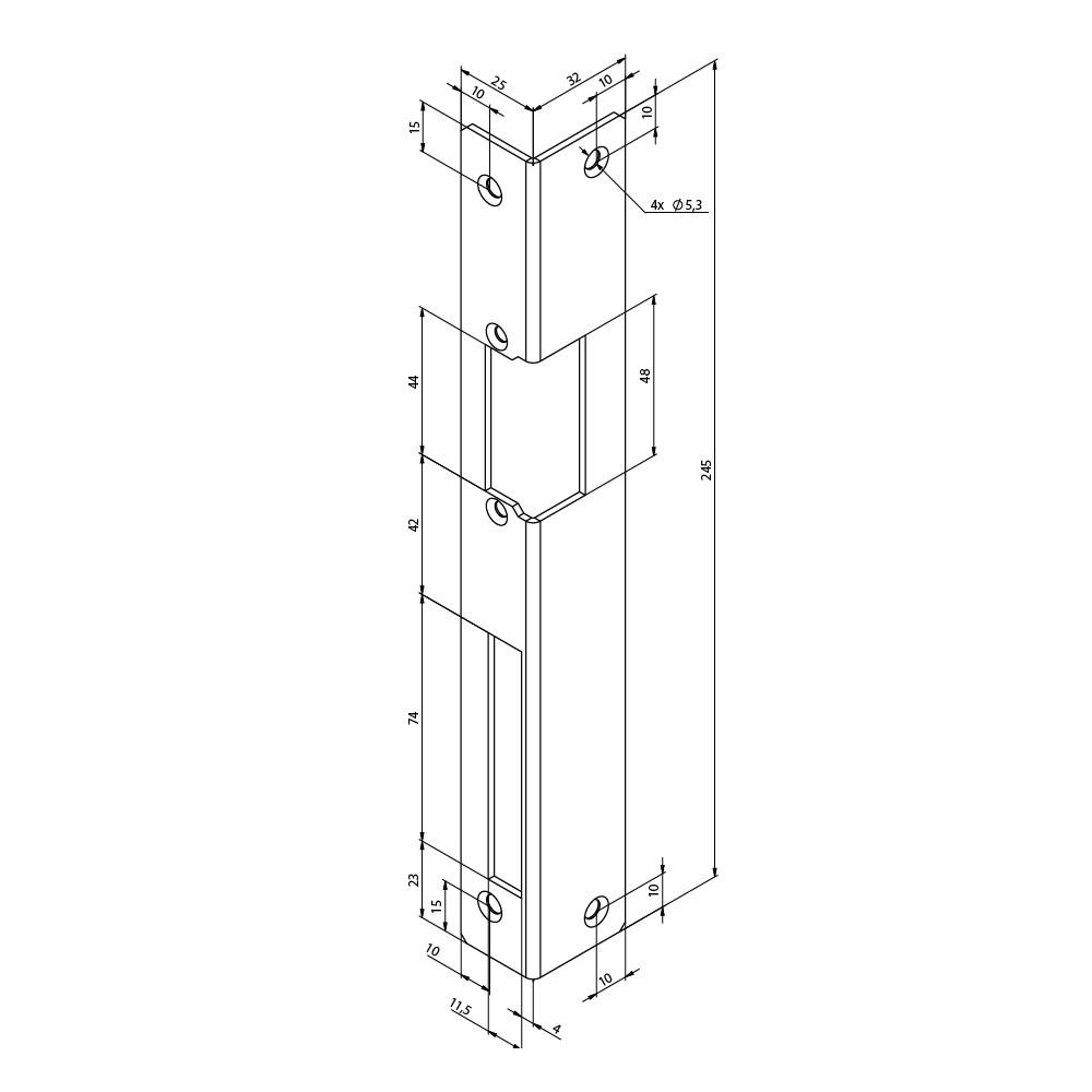 Assa Abloy montážní rohová lišta pro elektrický otvírač FAB16